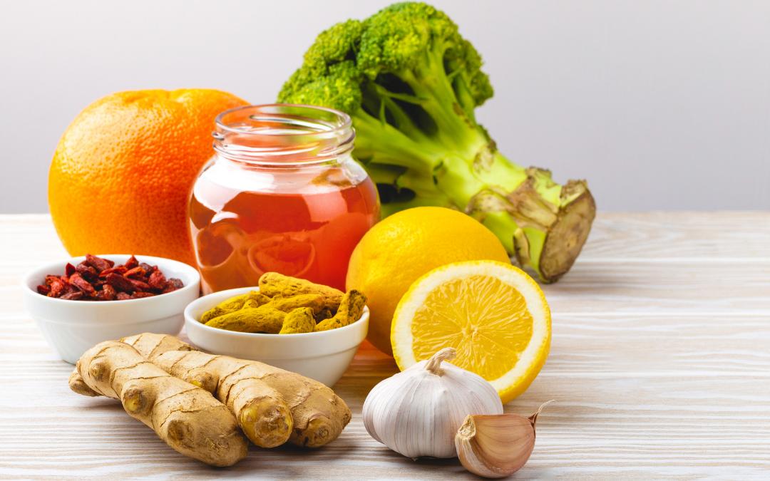 immune fighting ingredients like broccoli, lemon, ginger and cinnamon