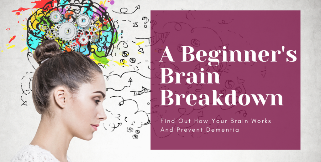 woman looking down to the title of beggings brain breakdown in purple box with a colourful brain painting behind her head